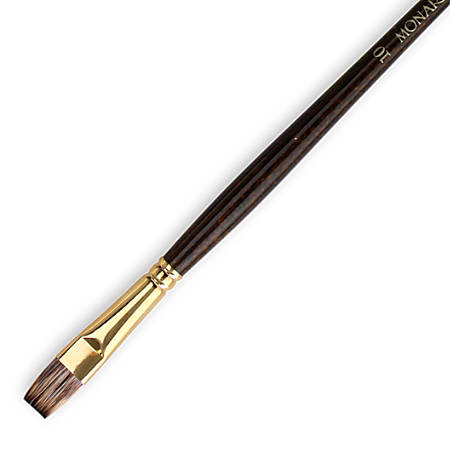 Winsor & Newton Monarch Long-Handle Paint Brush, Size 10, Flat Bristle, Synthetic, Brown