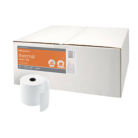 """Office Depot® Brand 1-Ply Thermal Paper Rolls, 4 3/8"""" x 328', White, Pack Of 24"""