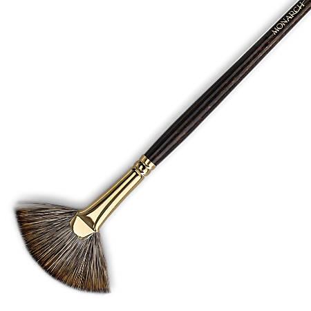 Winsor & Newton Monarch Long-Handle Paint Brush, Size 6, Fan Bristle, Synthetic, Brown