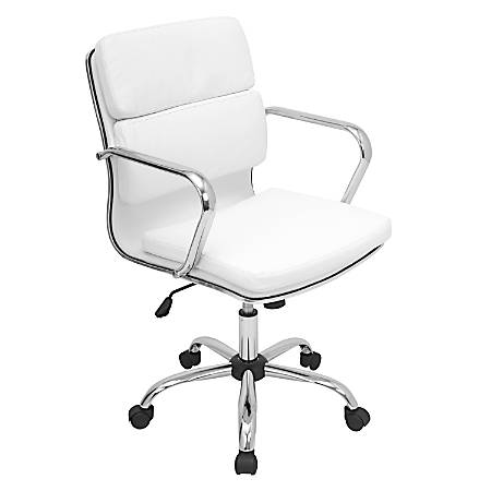 Lumisource Bachelor Fabric Office Chair, White