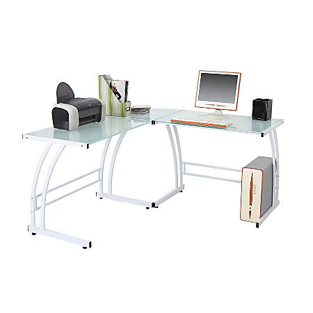 Lumisource Gamma Glass/Metal Workstation, White