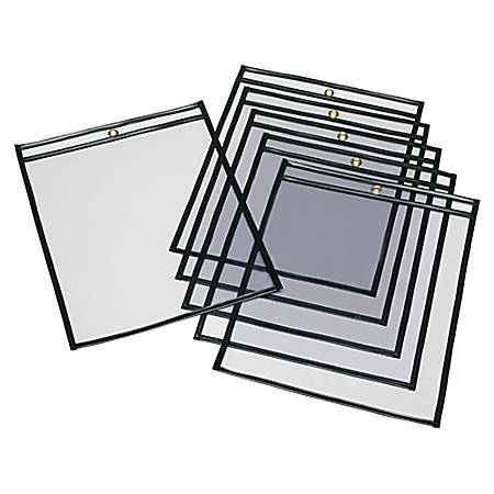 "SKILCRAFT® Transparent Poly Envelopes, 13"" x 10"", Clear/Black, Pack Of 25 (AbilityOne 7510-01-647-7926)"