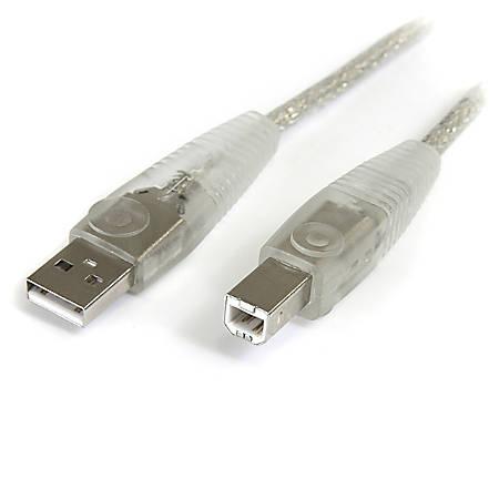 StarTech.com Transparent USB 2.0 cable - 4 pin USB Type A (M) - 4 pin USB Type B (M) - ( USB / Hi-Speed USB ) - 15 ft