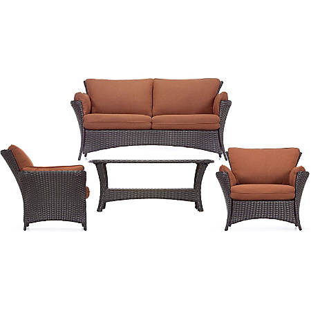 Hanover Strathmere Allure 4-Piece Seating Set, Woodland Rust