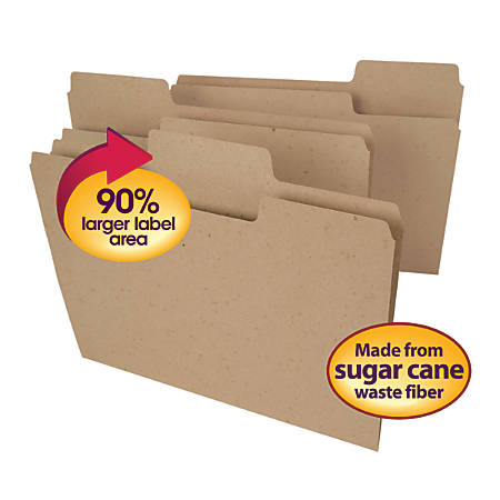 Tree Free SuperTab® File Folders, Letter Size, 30% Recycled, Natural Brown, Pack Of 100