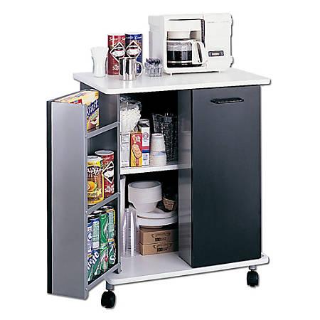 """Safco® Mobile Refreshment Stand, 33 1/4""""H x 29 1/2""""W x 22 3/4""""D, Black/White"""