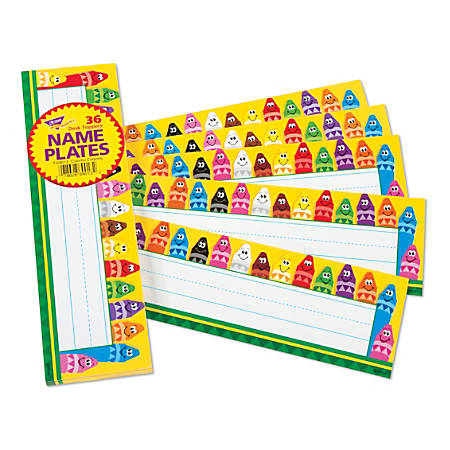 """TREND Desk Toppers® Name Plates, 2-7/8"""" x 9-1/2"""", Colorful Crayons, Pack Of 36"""
