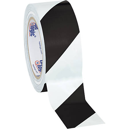 """BOX Packaging Striped Vinyl Tape, 3"""" Core, 2"""" x 36 Yd., Black/White, Case Of 3"""