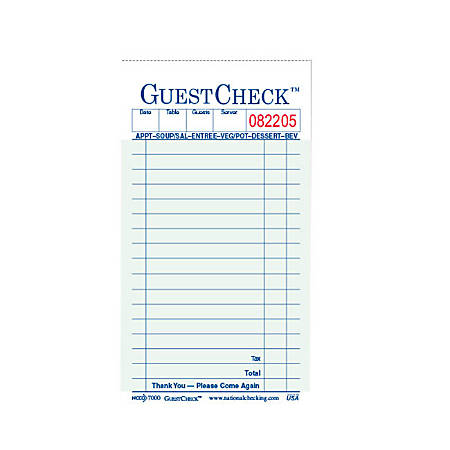 Guest Check Books, 2-Part, Carton Of 50