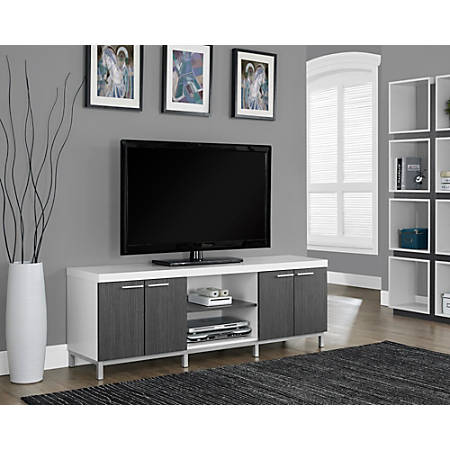 "Monarch Specialties Two Tone TV Stand For TVs Up To 60"", Gray/White"