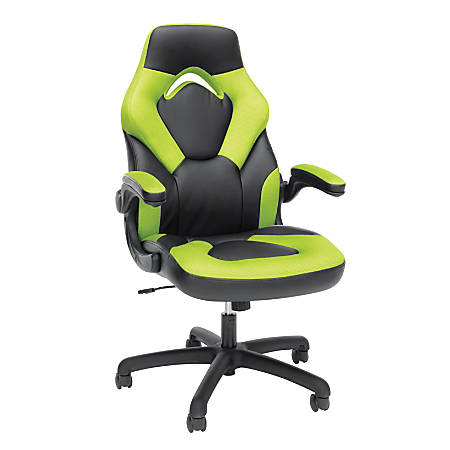 OFM Essentials Racing Style Faux Leather High-Back Gaming Chair, Green/Black on blue race car desk chair, retro style office chair, racing computer chair, racing furniture, camaro racing car office chair, antique style office chair, audi racing office chair, gt omega pro racing office chair, sitting in a chair, racing seats, racing chair xbox one, western style office chair, car style office chair, racing style swivel chair,