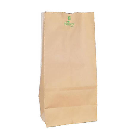 "Duro® Novolex™ #8 Paper Bags, 12 7/16""H x 6 1/8""W x 4 1/8""D, 100% Recycled, Kraft, Pack Of 500"