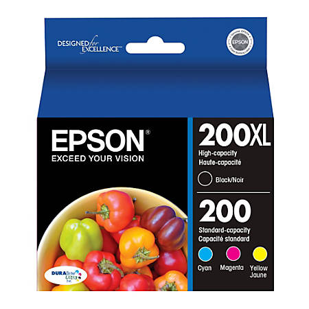 Epson® 200XL/200 (T200XL-BCS) DuraBrite® Ultra Black/Color Ink Cartridges, Pack Of 4