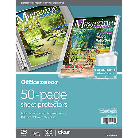Office Depot® Brand 50 Page Expandable Sheet Protectors, 8 12