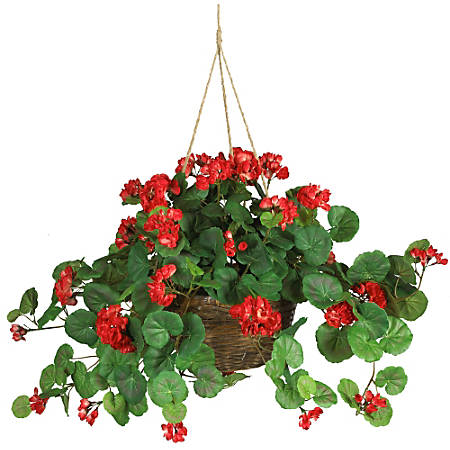 """Nearly Natural 24"""" Geranium Hanging Basket, Red"""