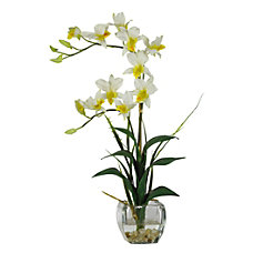 Nearly Natural Dendrobium With Glass Vase
