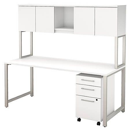 """Bush Business Furniture 400 Series Table Desk With Hutch And 3 Drawer Mobile File Cabinet, 72""""W x 30""""D, White, Premium Installation"""