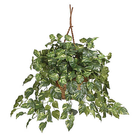 """Nearly Natural 26"""" Pothos Hanging Plant With Basket"""