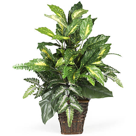 """Nearly Natural 26"""" Silk Mixed Greens Plant With Basket"""