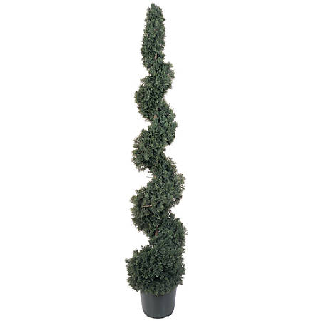 Nearly Natural 5' Silk Cedar Spiral Topiary With Pot