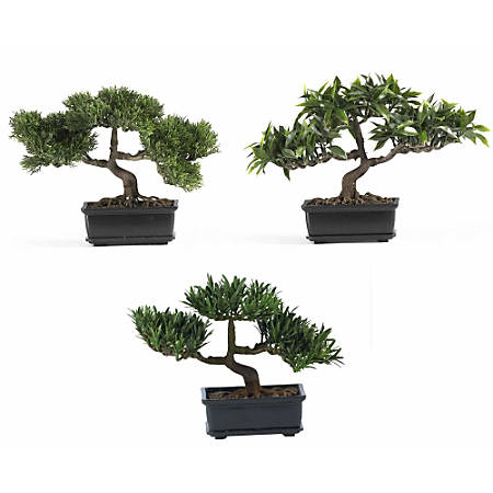 "Nearly Natural 8 1/2"" Silk Bonsai Plant With Pot, 8 1/2""H x 12""W x 5""D, Set Of 3"
