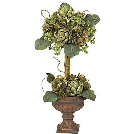 """Nearly Natural 24"""" Silk Artichoke Topiary With Vase"""