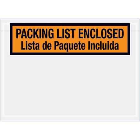 "Tape Logic® Preprinted Packing List Envelopes, Bilingual, Packing List Enclosed, 7 1/2"" x 5 1/2"", Orange, Case Of 1,000"