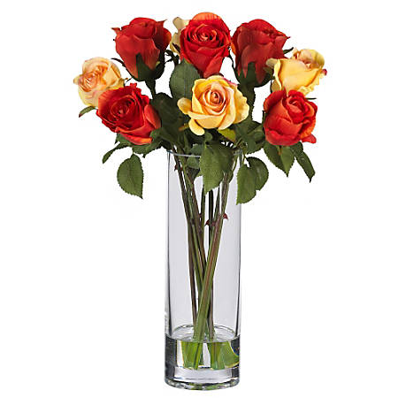 "Nearly Natural 16"" Silk Roses With Vase, Red/Yellow"