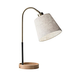 Adesso Jeffrey Table Lamp 21 H Off White Shadeblackbrass