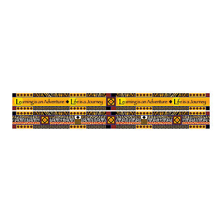 """Barker Creek Double-Sided Straight-Edge Border Strips, 3"""" x 35"""", Africa, Pack Of 12"""