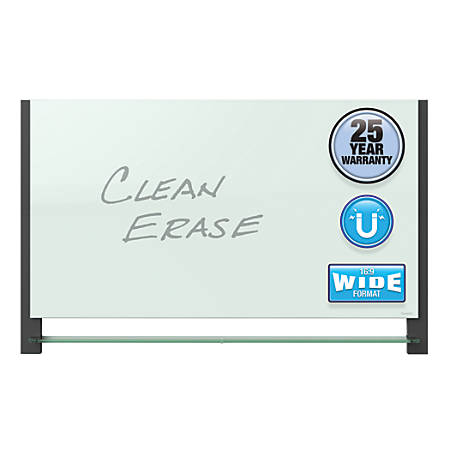 "Quartet® Evoque™ Glass Magnetic Dry-Erase Board, 28"" x 50"", White, Black Plastic Frame"