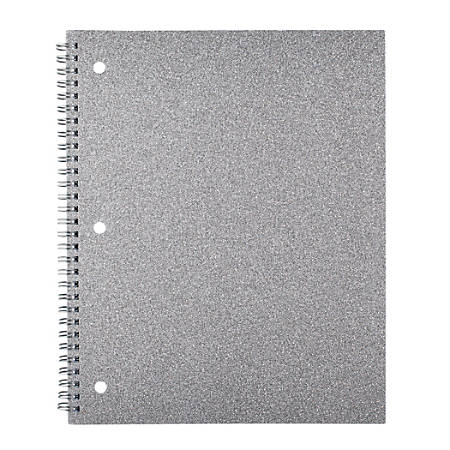 "Divoga® Spiral Notebook, Glitter Collection, 8 1/2"" x 10 1/2"", 1 Subject, Wide Ruled, 160 Pages (80 Sheets), Silver"