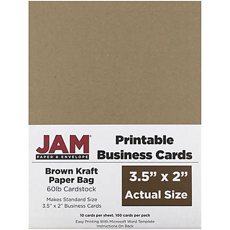 "JAM Paper® Printable Business Cards, 3 1/2"" x 2"", Brown Kraft, 10 Cards Per Sheet, Pack Of 10 Sheets"