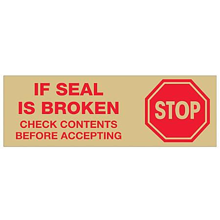 "Tape Logic® Stop If Seal Is Broken Preprinted Carton-Sealing Tape, 3"" Core, 2"" x 110 Yd., Red/Tan, Case Of 6"