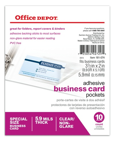 Office Depot Brand Adhesive Business Card Pockets Pack Of 10 By OfficeMax