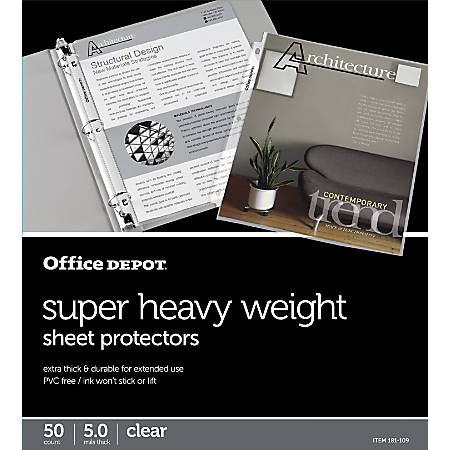 """Office Depot® Brand Super Heavyweight Sheet Protectors, 8-1/2"""" x 11"""", Clear, Pack Of 50"""