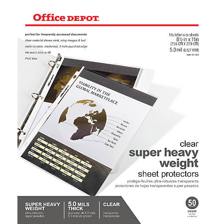 Office Depot® Brand Super Heavyweight Sheet Protectors, Pack Of 50
