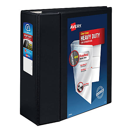 "Avery® Heavy-Duty View Binder, With Locking One-Touch EZD™ Rings, 8 1/2"" x 11"", 5"" Rings, 38% Recycled, Black"