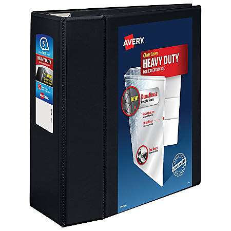 """Avery® Heavy-Duty View Binder, With Locking One-Touch EZD™ Rings, 8 1/2"""" x 11"""", 5"""" Rings, 38% Recycled, Black"""