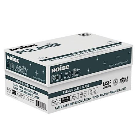 "Boise POLARIS® Premium Laser Paper, Letter Size (8 1/2"" x 11""), 98 (U.S) (U.S.) Brightness, 28 Lb, FSC® Certified, 500 Sheets Per Ream, Case Of 6 Reams"