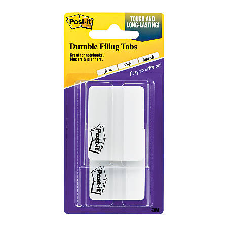 """Post-it® Notes Durable Filing Tabs, 2"""", White, Pad Of 50 Flags"""