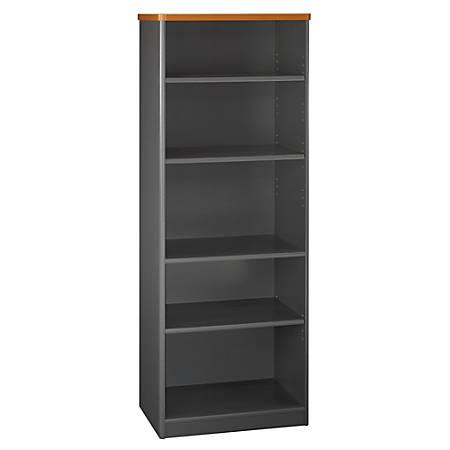 "Bush Business Furniture Office Advantage 5 Shelf Bookcase, 26""W, Natural Cherry/Slate, Premium Installation"