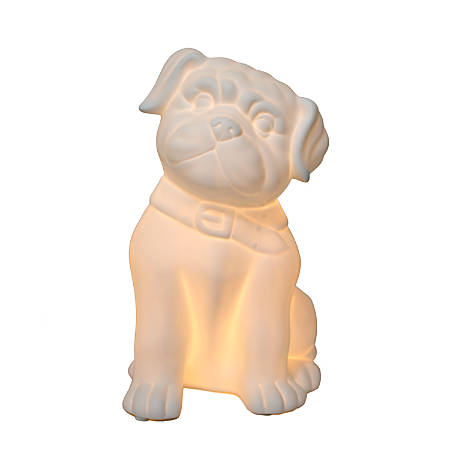 """Simple Designs Porcelain Puppy Dog Table Lamp, 10 3/8""""H, White Shade/White Base"""