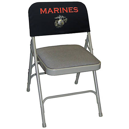 """Integrity By California Color Decorative Folding Chair Cover, Marines, """"Emblem Pride"""", Pack Of 12"""