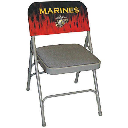 "Integrity By California Color Decorative Folding Chair Cover, Marines, ""Firestorm"", Pack Of 12"