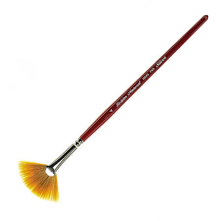 Silver Brush Golden Natural Series Paint Brush 20045, Size 4, Fan Bristle, Red