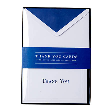 """Sincerely A Collection by C.R. Gibson® Professional Thank You Notes, 3 3/4"""" x 5 5/16"""", Blue, Pack Of 20"""