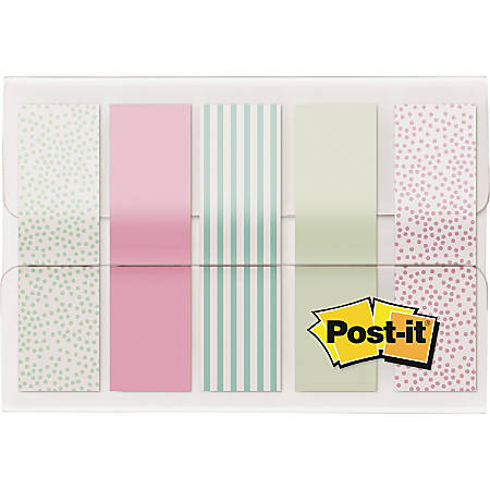 Post-it® Pastel Color Flags - 100 x Assorted Pastel - 20 Sheets per Pad - Assorted Pastel - Self-adhesive, Sticky, Removable, Writable - 100 / Pack