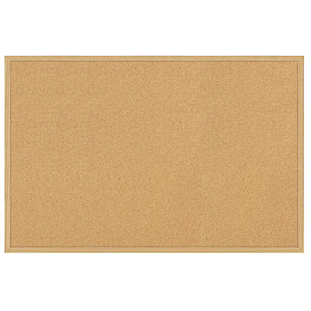 "FORAY™ Cork Board, 24"" x 36"", Tan Cork, Light Oak Frame"