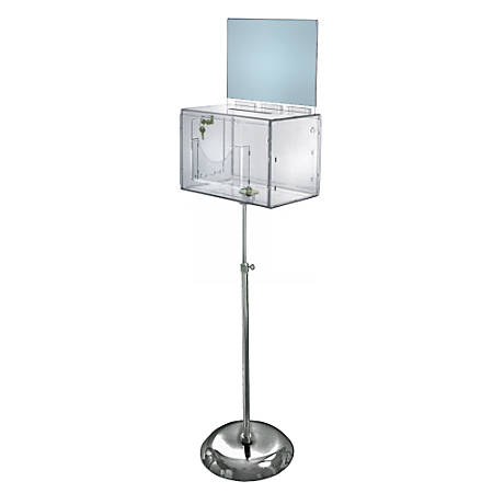 """Azar Displays Plastic Suggestion Box, Adjustable Pedestal Floor Stand, With Lock, Extra-Large, 8 1/4""""H x 11""""W x 8 1/4""""D, Clear"""